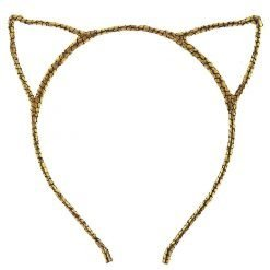 glitter cracked pattern cat ear headband gold 1