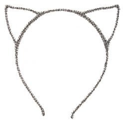 glitter cracked pattern cat ear headband silver 1