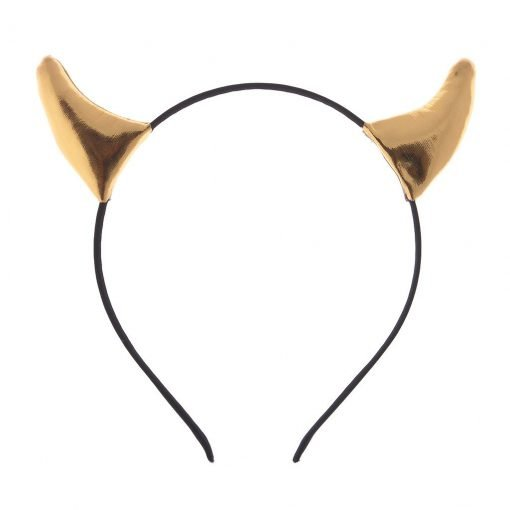 leather devil horn headband gold