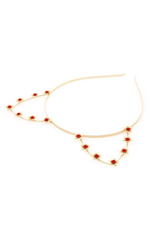 red rhineston flower cat ear steel headband gold