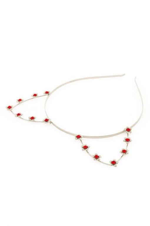 red rhineston flower cat ear steel headband silver