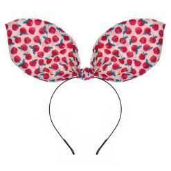 retro apple print flexible big rabbit ear bow headband ivory 1