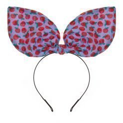 retro apple print flexible big rabbit ear bow headband sky 1