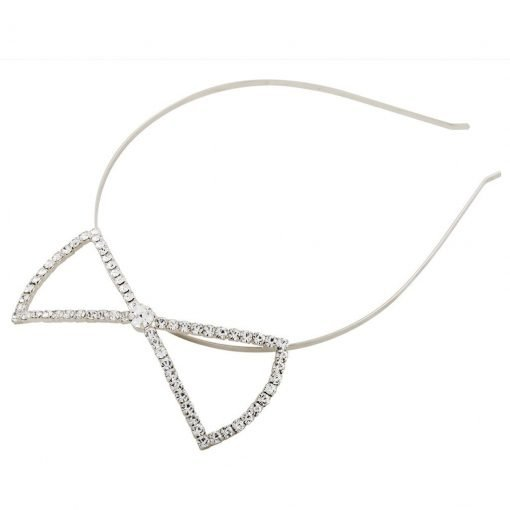 rhinestone big bow steel headband silver