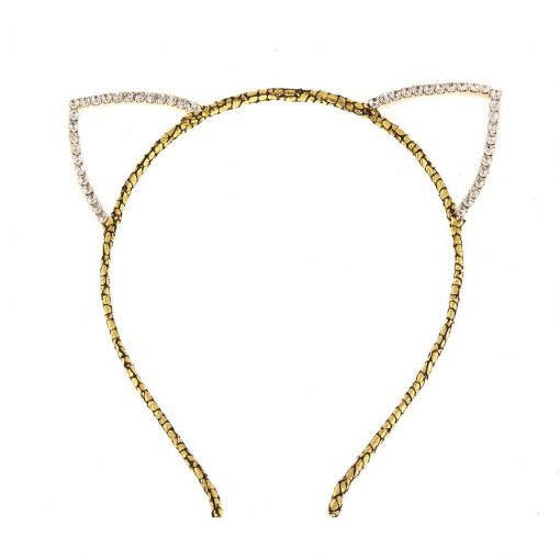 rhinestone cat ear glitter cracked pattern headband gold