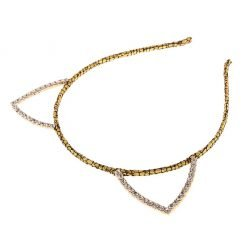 rhinestone cat ear glitter cracked pattern headband gold 2