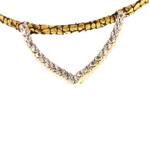 rhinestone cat ear glitter cracked pattern headband gold 4