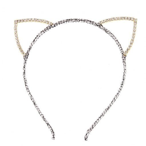 rhinestone cat ear glitter cracked pattern headband silver