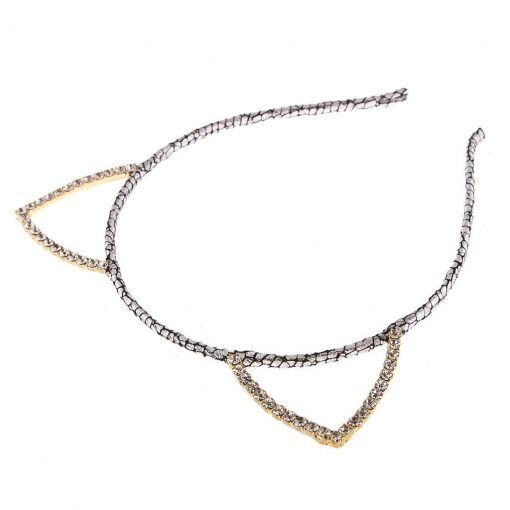 rhinestone cat ear glitter cracked pattern headband silver 2