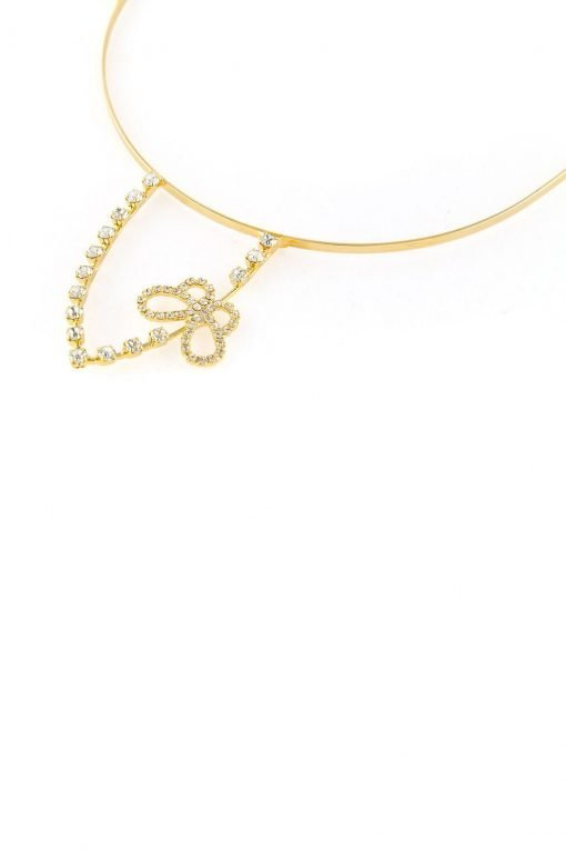 rhinestone rabbit ear steel headband with butterfly gold 2