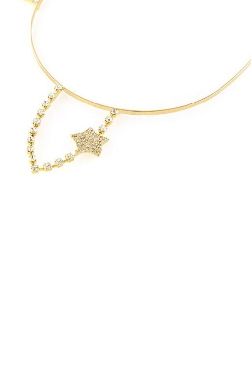 rhinestone rabbit ear steel headband with star gold 2