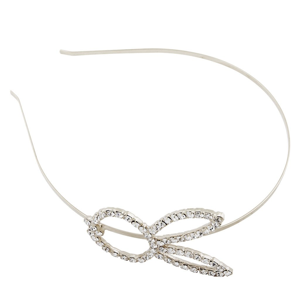 rhinestone rabbit face steel headband big size silver