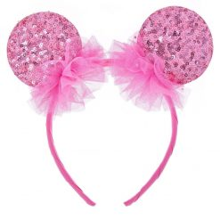 spangle round mouse ear headband cherry pink