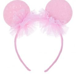 spangle round mouse ear headband light pink