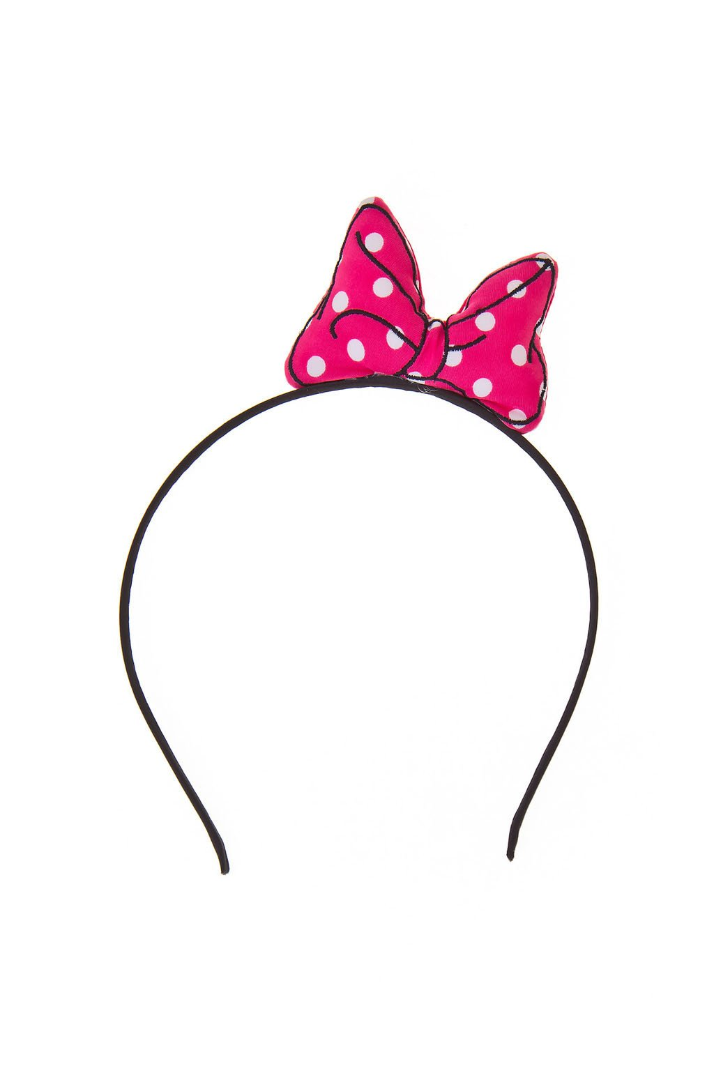 super cute black line polka dot bow headband pink