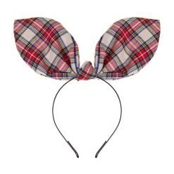tartan check plaid flexible big rabbit ear bow headband ivory 1