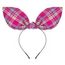 tartan check plaid flexible big rabbit ear bow headband pink 1
