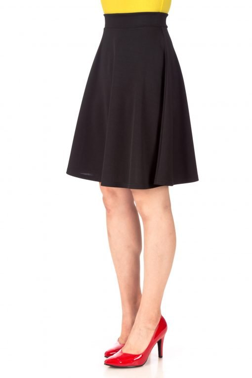 Key Elastic Waist A line Full Flared Skater Knee Length Skirt Black 05