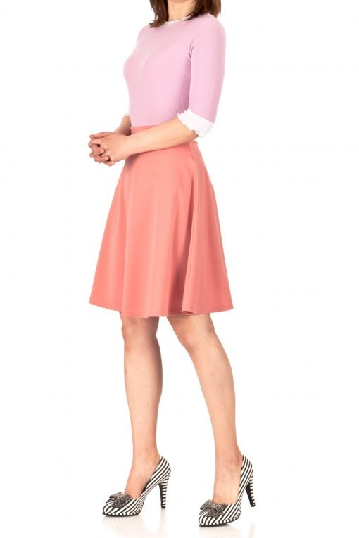 Key Elastic Waist A line Full Flared Skater Knee Length Skirt Coral Peach 01