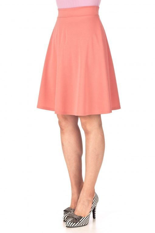 Key Elastic Waist A line Full Flared Skater Knee Length Skirt Coral Peach 05