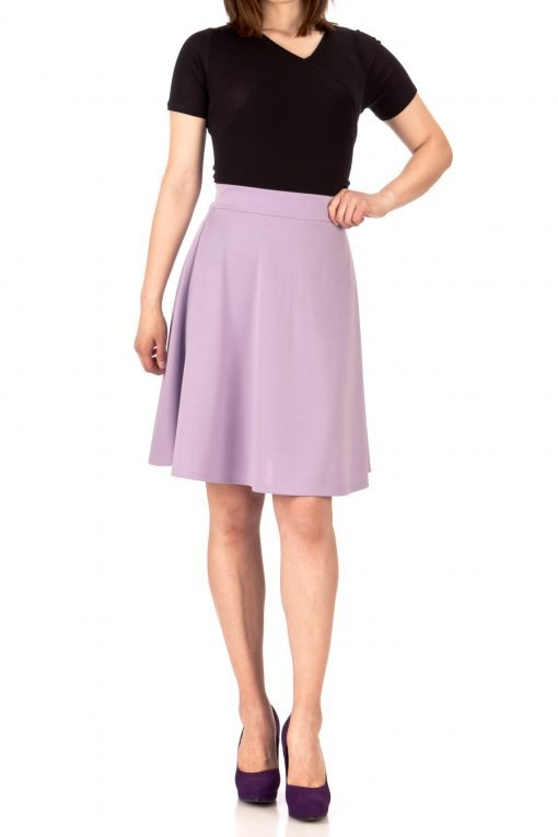 Key Elastic Waist A line Full Flared Skater Knee Length Skirt Lavender 01