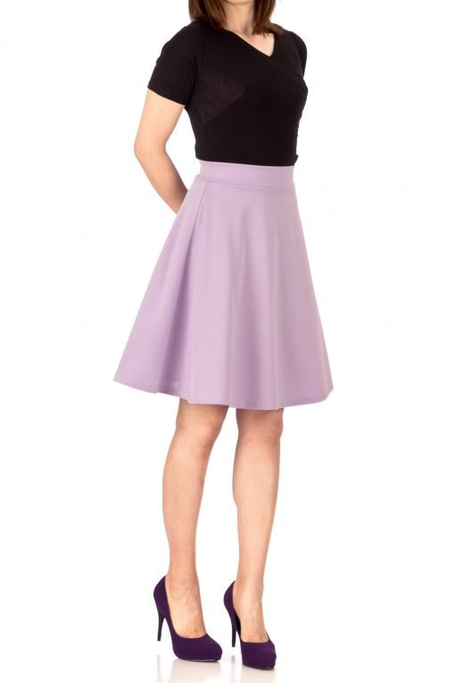 Key Elastic Waist A line Full Flared Skater Knee Length Skirt Lavender 03