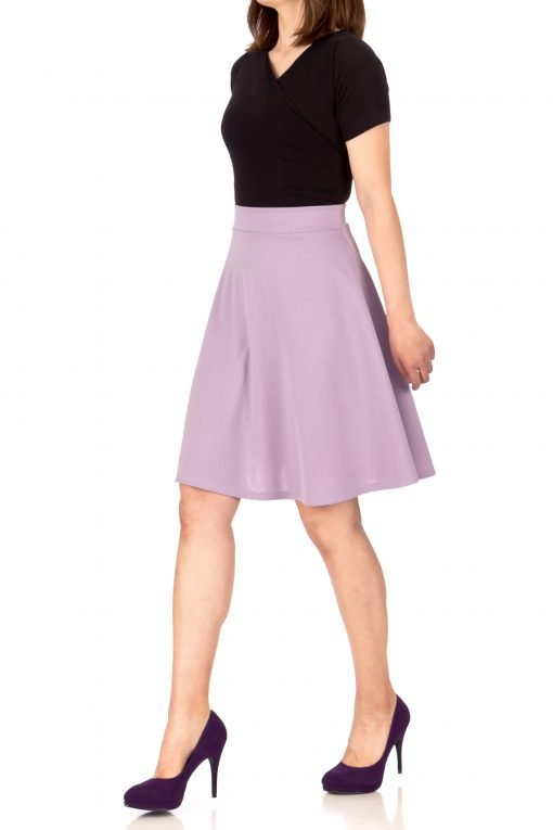 Key Elastic Waist A line Full Flared Skater Knee Length Skirt Lavender 04