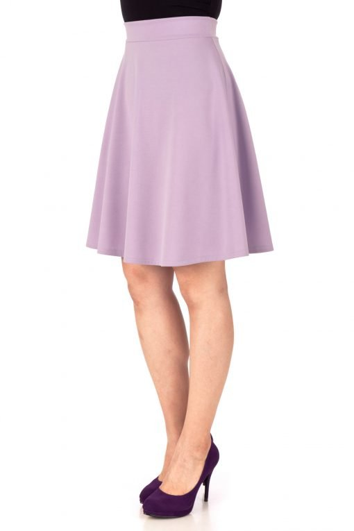 Key Elastic Waist A line Full Flared Skater Knee Length Skirt Lavender 05