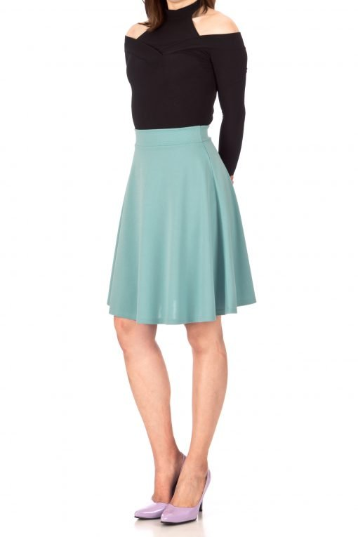 Key Elastic Waist A line Full Flared Skater Knee Length Skirt Tiffany Blue 01