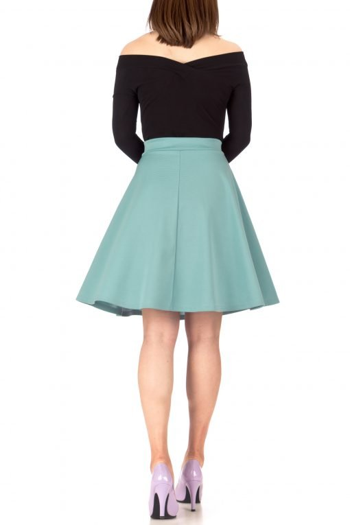 Key Elastic Waist A line Full Flared Skater Knee Length Skirt Tiffany Blue 02