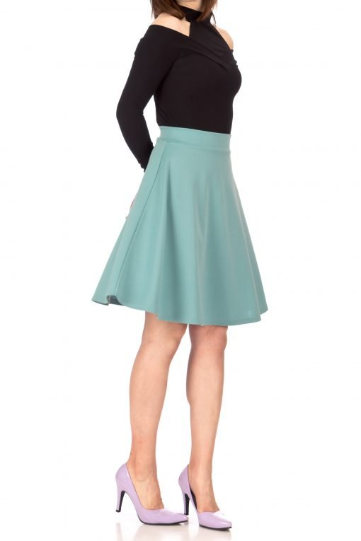 Key Elastic Waist A line Full Flared Skater Knee Length Skirt Tiffany Blue 03