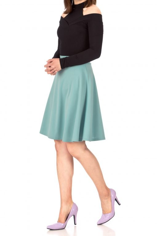 Key Elastic Waist A line Full Flared Skater Knee Length Skirt Tiffany Blue 04