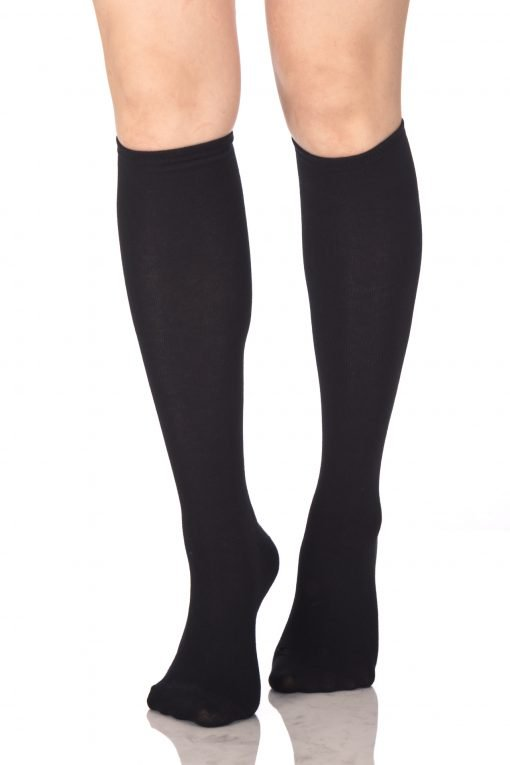 Plain Knee High Socks Black 1