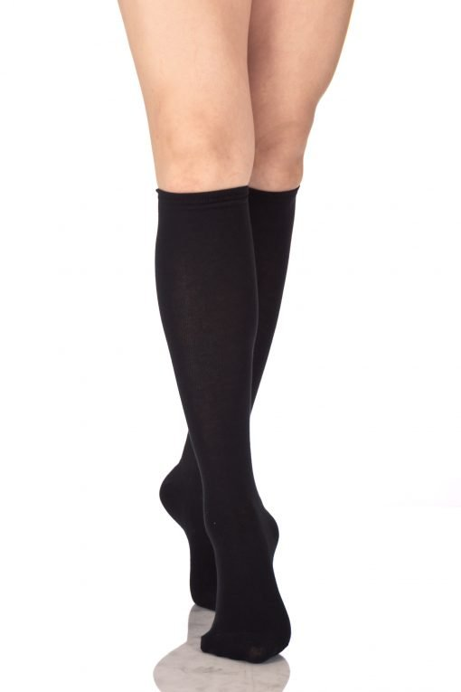 Plain Knee High Socks Black 2