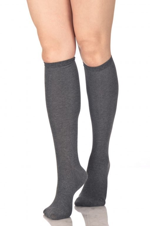Plain Knee High Socks Gray 1