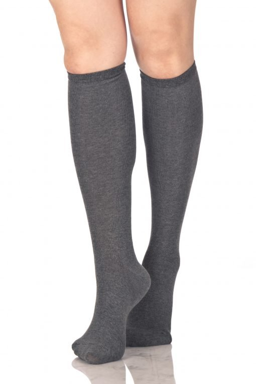 Plain Knee High Socks Gray 2