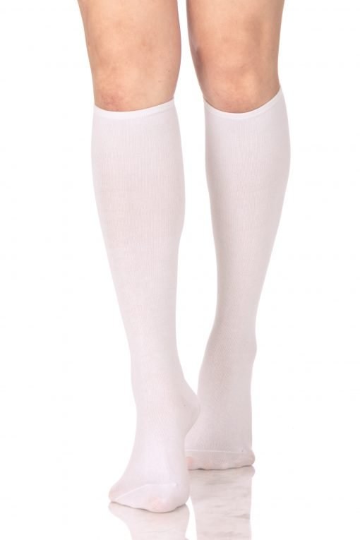 Plain Knee High Socks White 1