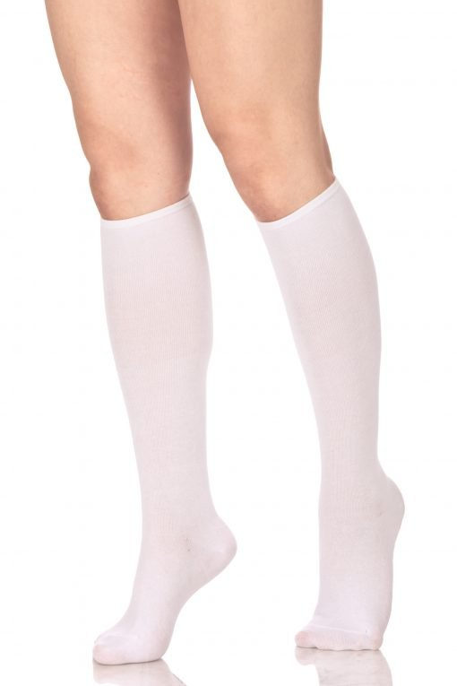 Plain Knee High Socks White 2