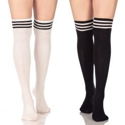 stripe over knee socks