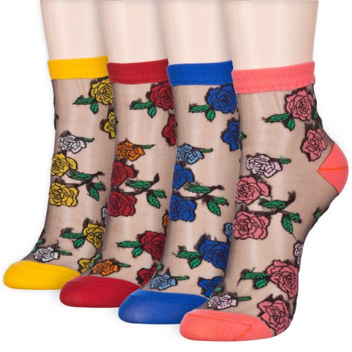 rose flower transparent ankle socks