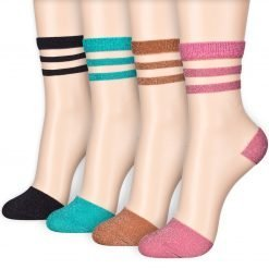 Twinkle Stripe Sheer Transparent Mesh Lace Ankle Stocking Socks